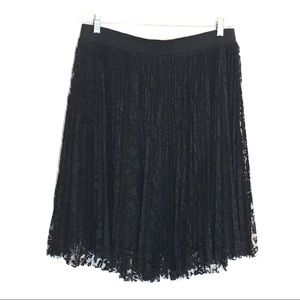 Lane Bryant Black Lace Pleated Skirt 14 16